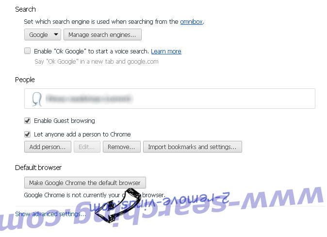 www-searching.com Chrome settings more
