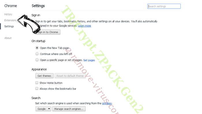 Accoona Search Chrome settings