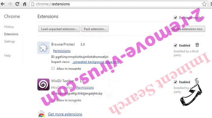 Iminent Search Chrome extensions remove