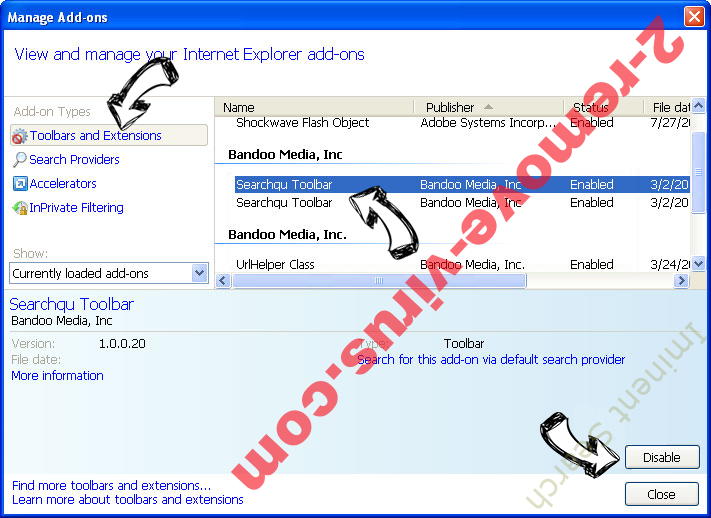 Iminent Search IE toolbars and extensions