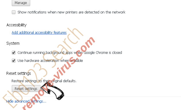 Search.easyclassifiedsaccess.com - wie entfernen? Chrome advanced menu