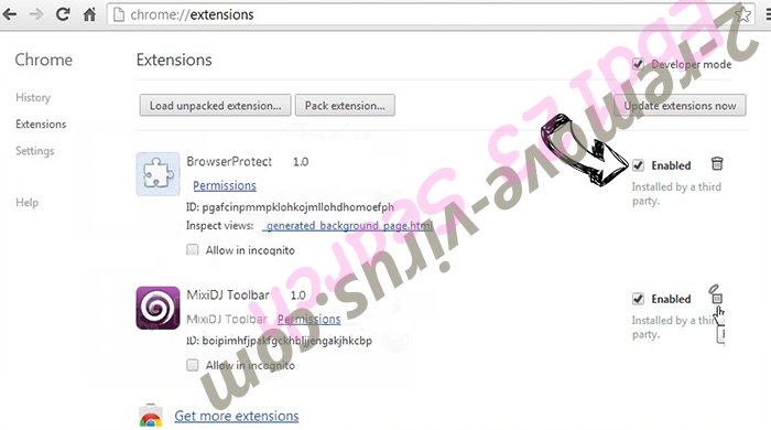 Supprimer Discover Treasure Chrome extensions disable