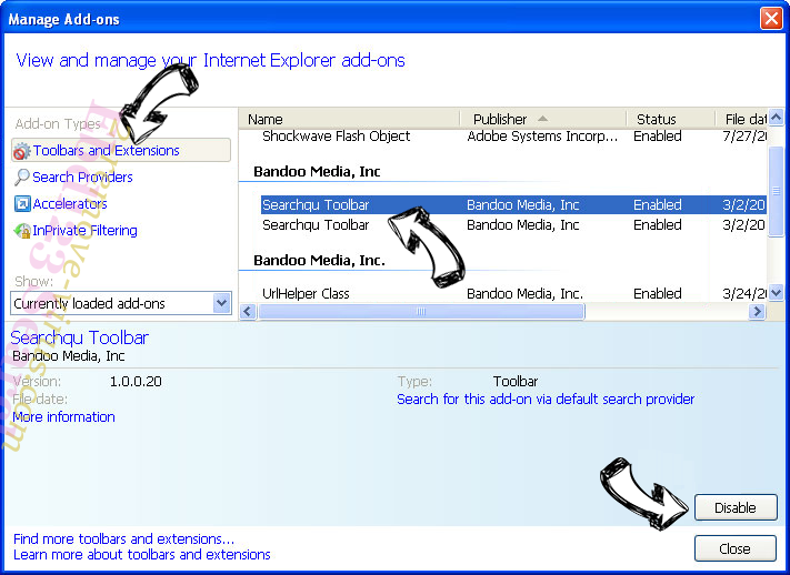 Search.easyclassifiedsaccess.com IE toolbars and extensions