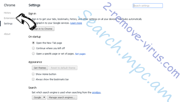 Yoursearchcentral.com Chrome settings