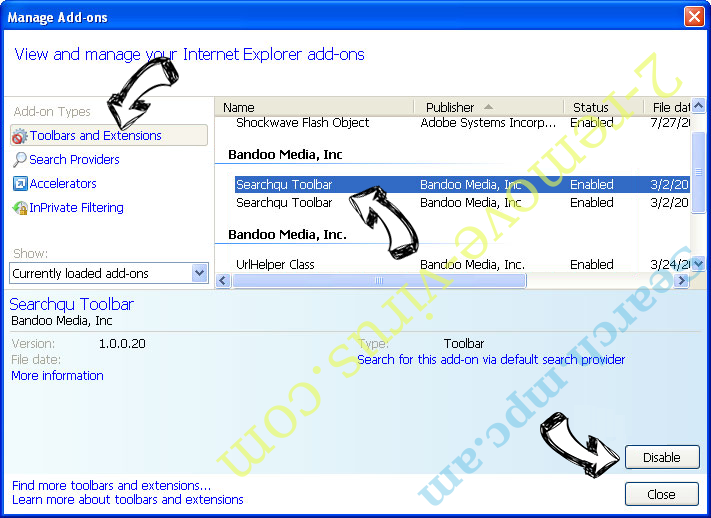 Yoursearchcentral.com IE toolbars and extensions