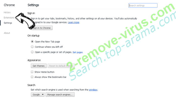 Search.top-arama.com Chrome settings
