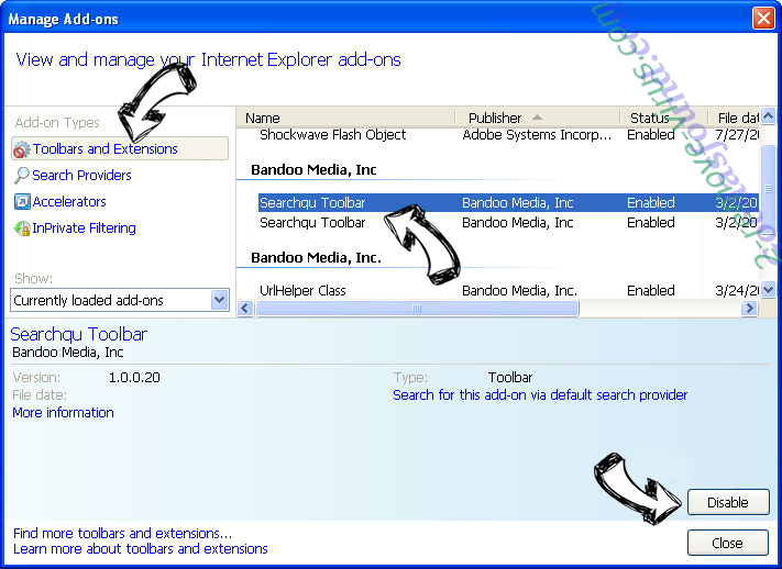 FetchSearch.com IE toolbars and extensions