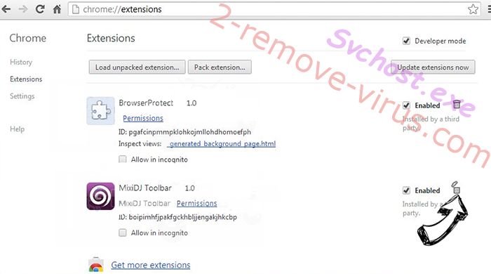 Svchost.exe Chrome extensions remove