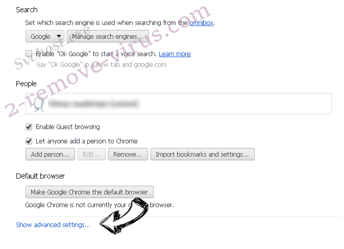 Web-starter.biz Chrome settings more