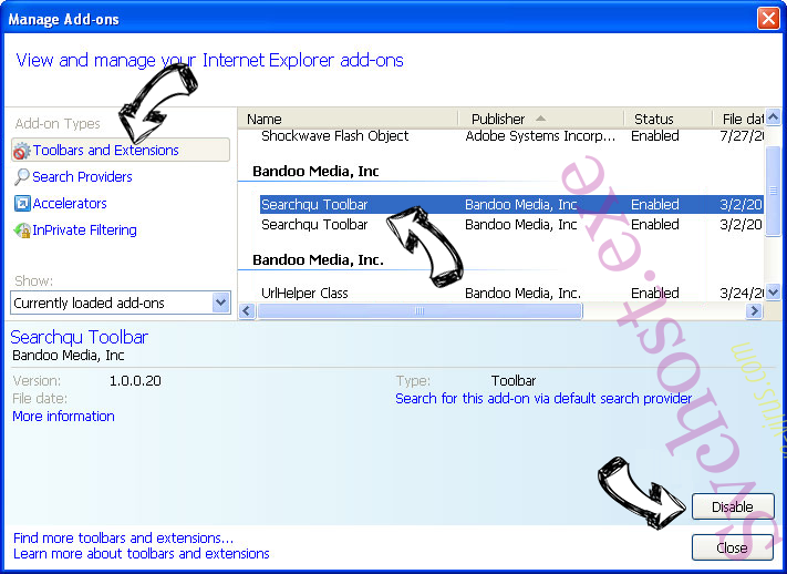 Svchost.exe IE toolbars and extensions
