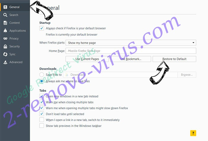 Google Redirect Virus Firefox reset confirm