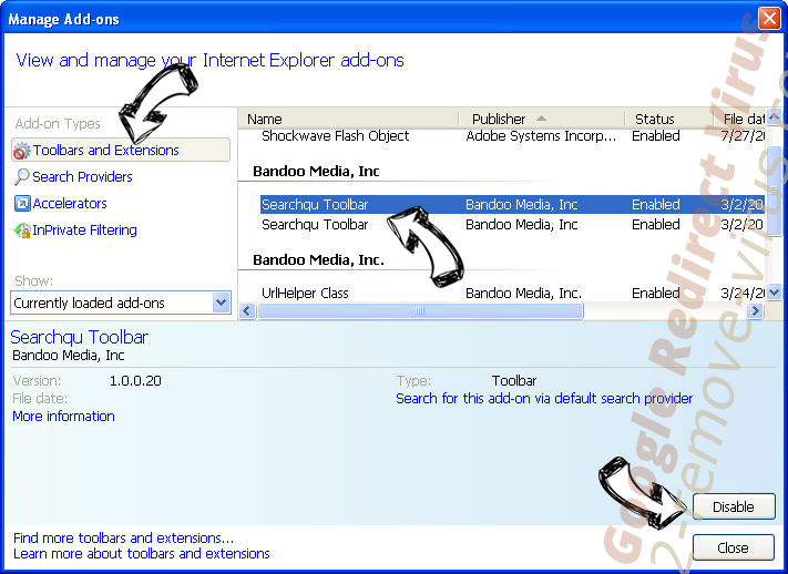Google Redirect Virus IE toolbars and extensions