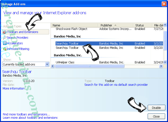 Search Manager virus IE toolbars and extensions
