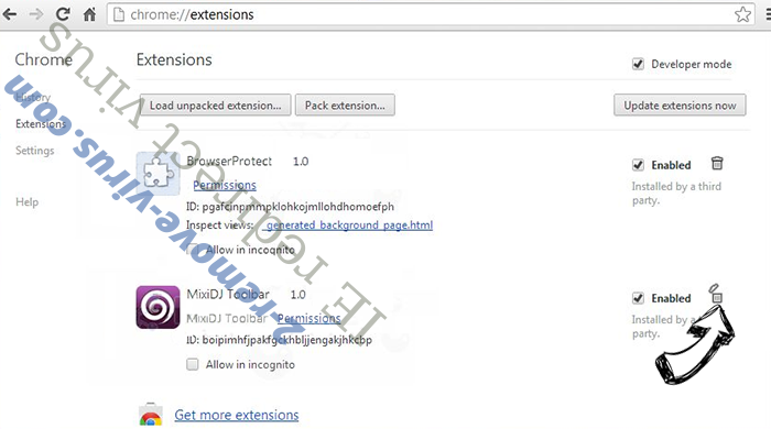 IE redirect virus Chrome extensions remove