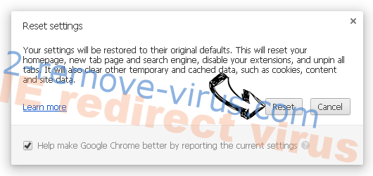 IE redirect virus Chrome reset