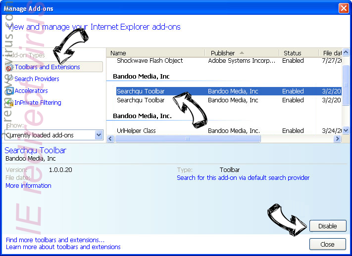 IE redirect virus IE toolbars and extensions