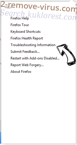 Search.kuklorest.com Firefox troubleshooting