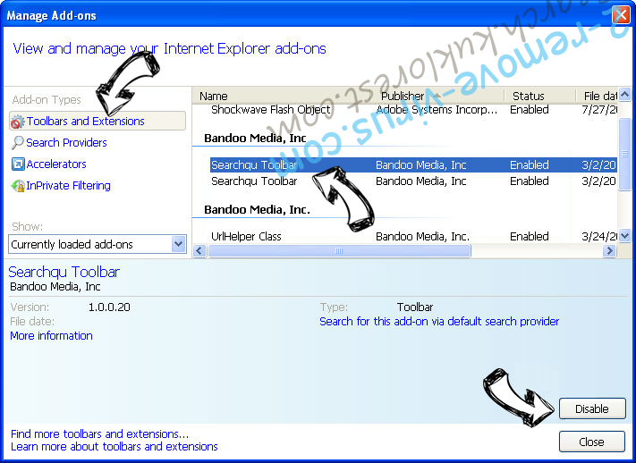 Search.websafefinder.com IE toolbars and extensions