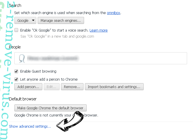 Letssearch.com Chrome settings more