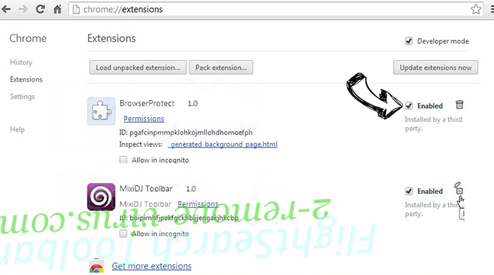 Rimuovere Websearch.coolfindings.info Chrome extensions disable