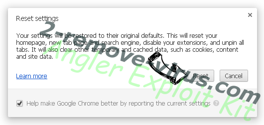 Angler Exploit Kit Chrome reset