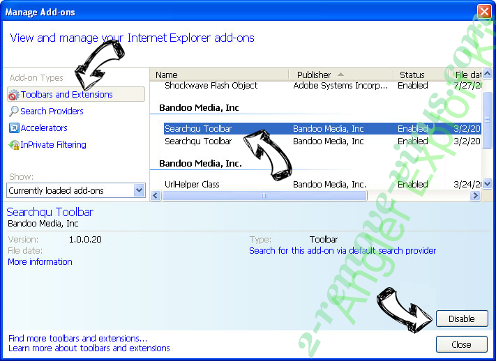 Angler Exploit Kit IE toolbars and extensions