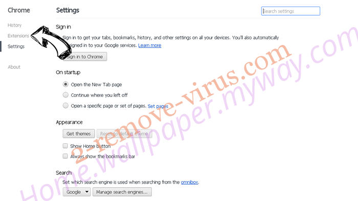 Moonly Search virus Chrome settings