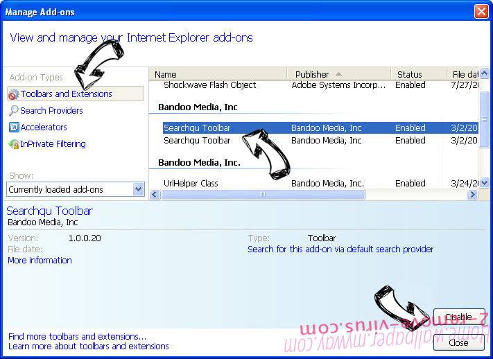 Moonly Search virus IE toolbars and extensions
