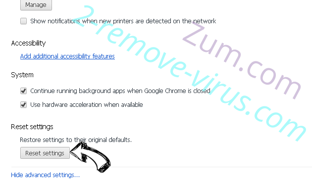 Zum.com Chrome advanced menu