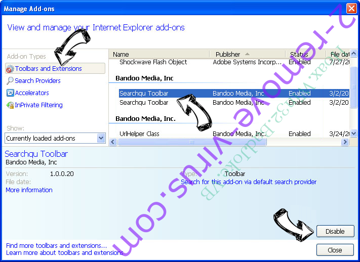 Searchp.icu Redirect IE toolbars and extensions