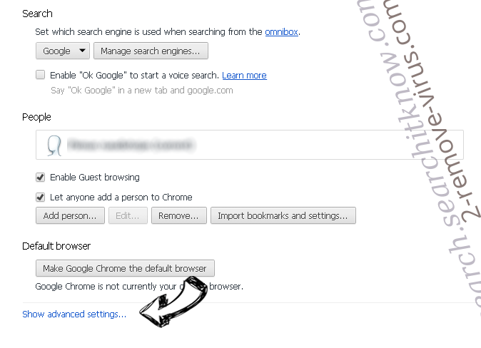Web-Start.org Chrome settings more