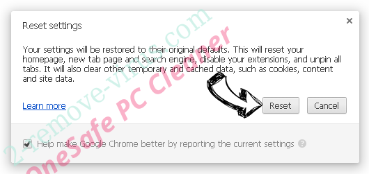 OneSafe PC Cleaner Chrome reset
