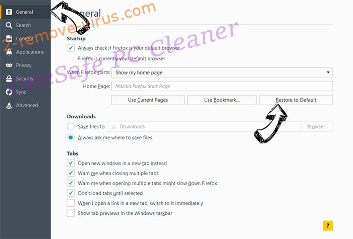 OneSafe PC Cleaner Firefox reset confirm