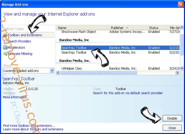Quick Searcher virus IE toolbars and extensions