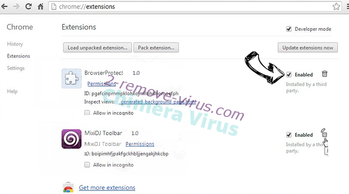 Chimera Virus Chrome extensions disable