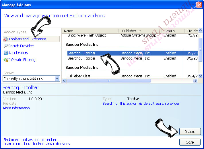 Websearch.homesearch-hub.info IE toolbars and extensions