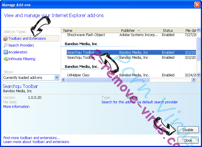 Searchfrom.ru Virus IE toolbars and extensions