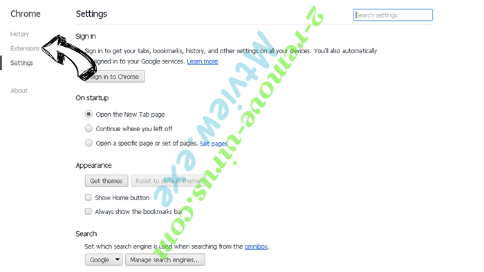 Palikan Virus Chrome settings