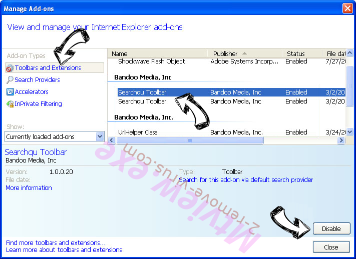 Palikan Virus IE toolbars and extensions