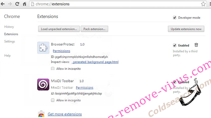 Coldsearch.com Chrome extensions remove