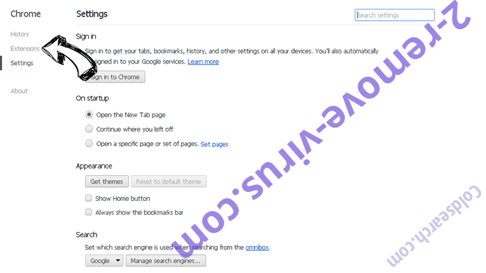 AlphaShoppers Virus Chrome settings