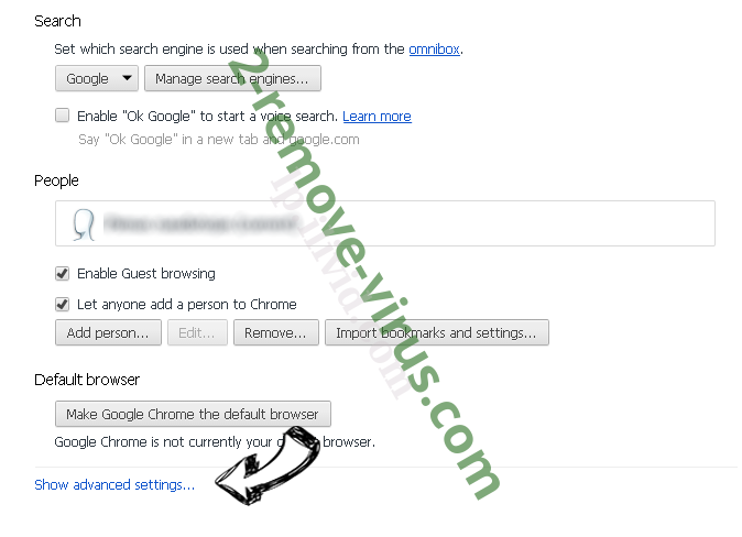 WebCrawler.com Chrome settings more