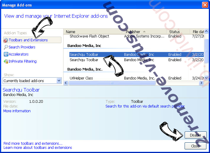 WebCrawler.com IE toolbars and extensions