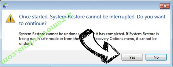 Suppression de .Code File Virus removal - restore message