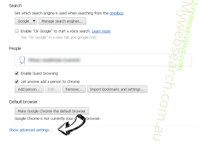 Search-Goal.com Chrome settings more