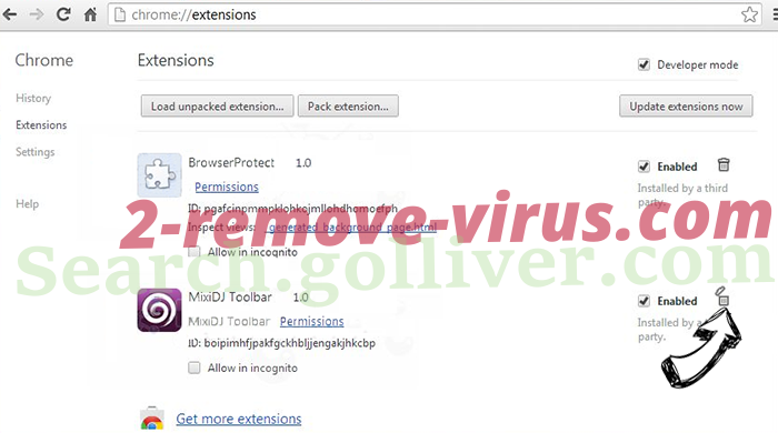 Search.golliver.com Chrome extensions remove