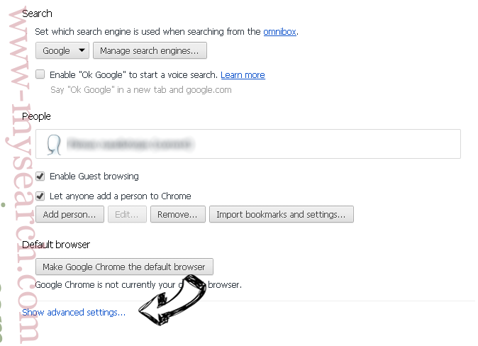 Gotsearch.co.uk Chrome settings more