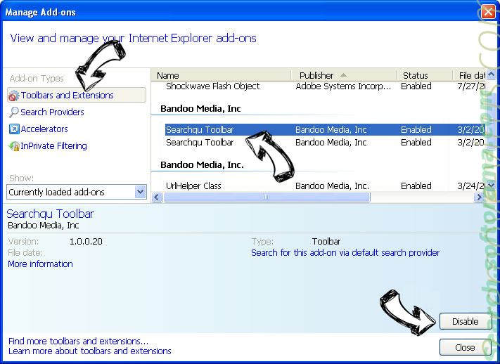 Searchdisk.de IE toolbars and extensions