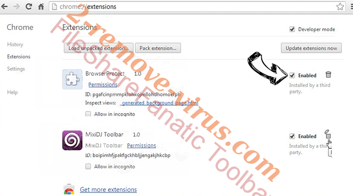 FileShareFanatic Toolbar verwijderen Chrome extensions disable