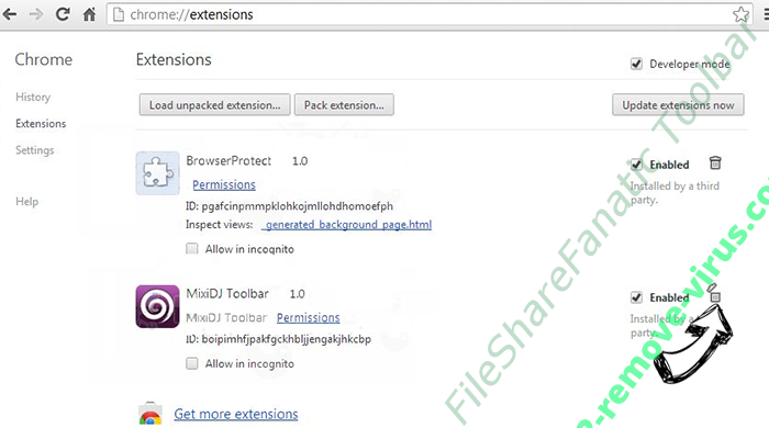 FileShareFanatic Toolbar Chrome extensions remove